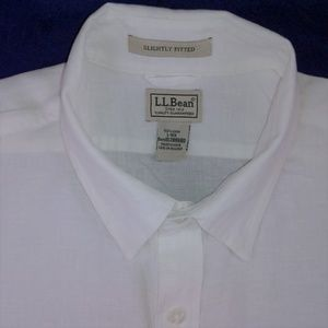 L L BEAN classic white linen casual shirt size L